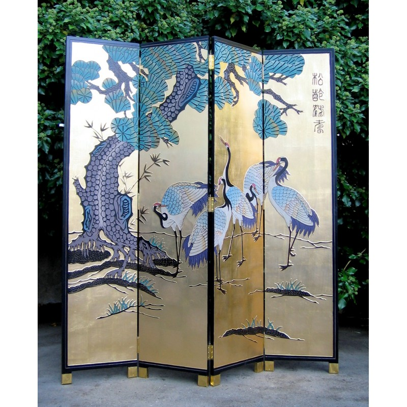Chinese screen painted with cranes
