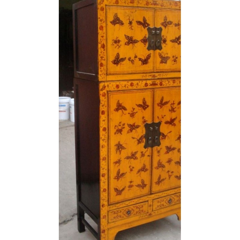 Yellow chinese cabinet with butterflies 80 cm
