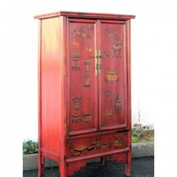 Red cabinet with vases 91cm