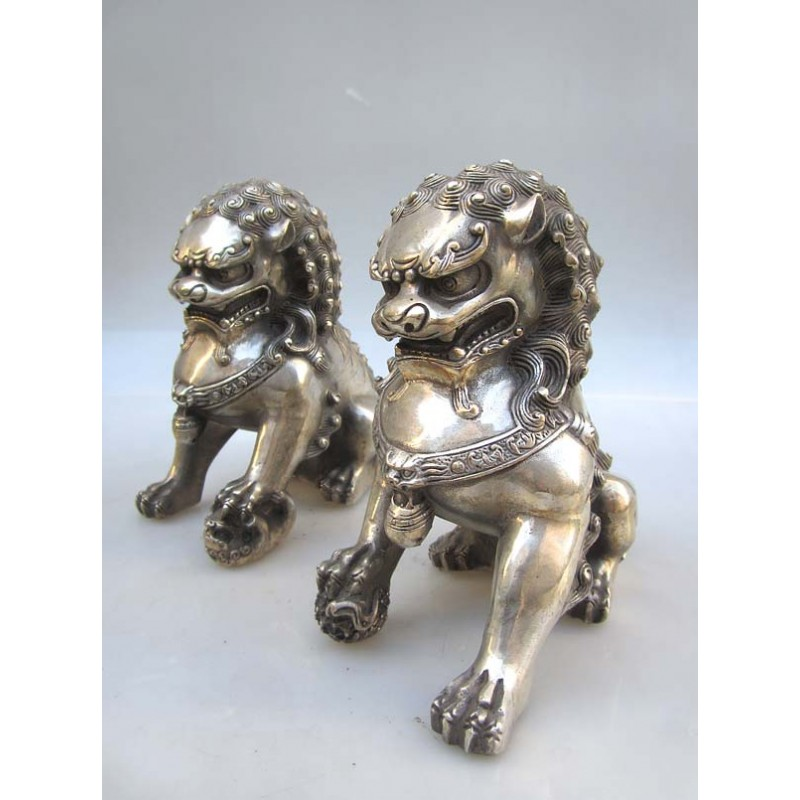 Fu dogs pair in silvered bronze (XL)