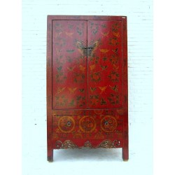 Red chinese wardrobe with...