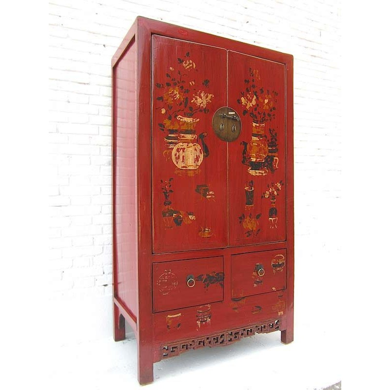 Armoire à Linge Chinoise Rouge 100cm China Collection