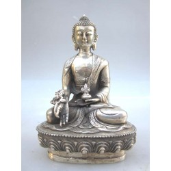 Tibetan Buddha in silvered...