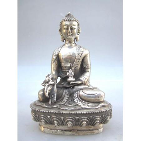 Tibetan Buddha in silvered bronze