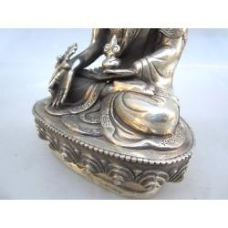 Bouddha tibétain en bronze argenté