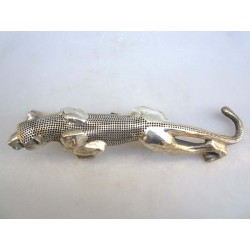 China. Bronze panther with silver coating