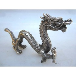 China. Bronze dragon in...