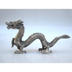 China. Bronze dragon in silvered bronze