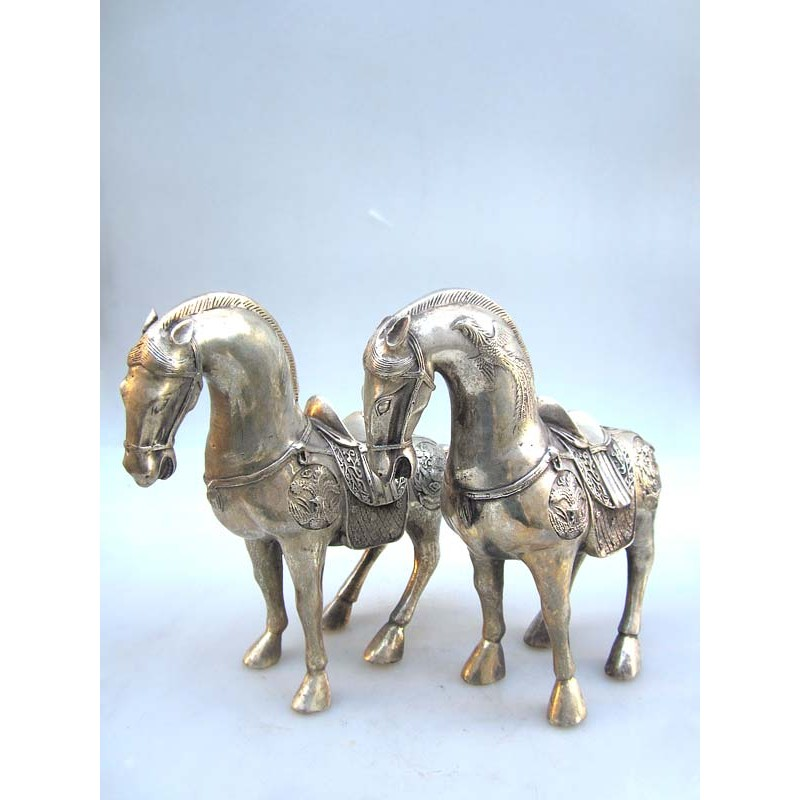 China. Horses in silvered bronze (sold by unit)
