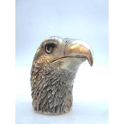 Tête d'aigle en bronze argenté