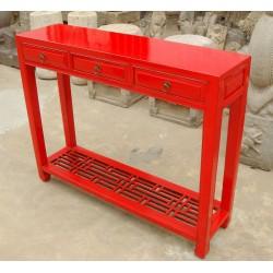 Chinesische Konsoltisch in rotem Lack 102 cm