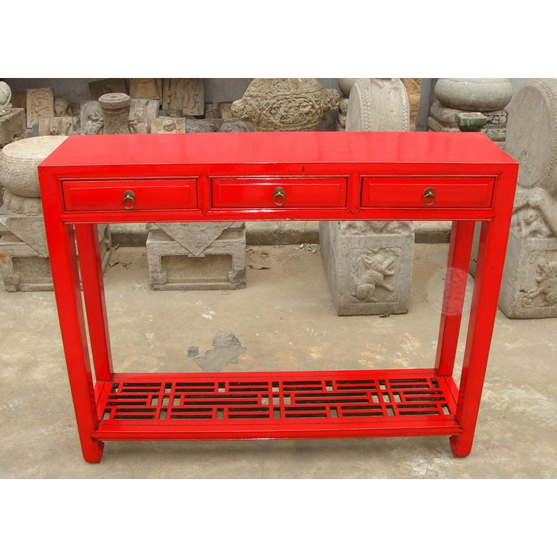 Console chinoise laquée rouge 102 cm