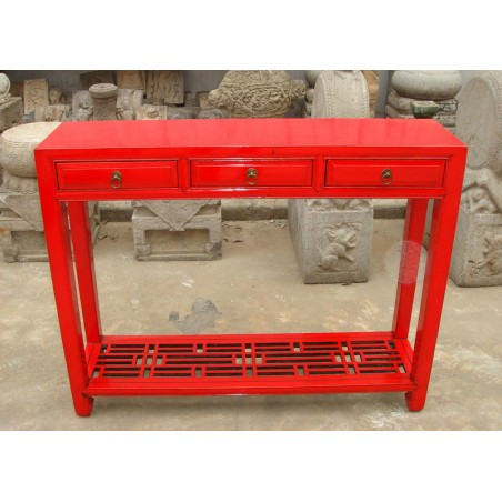 Chinese console table in red lacquer 102 cm