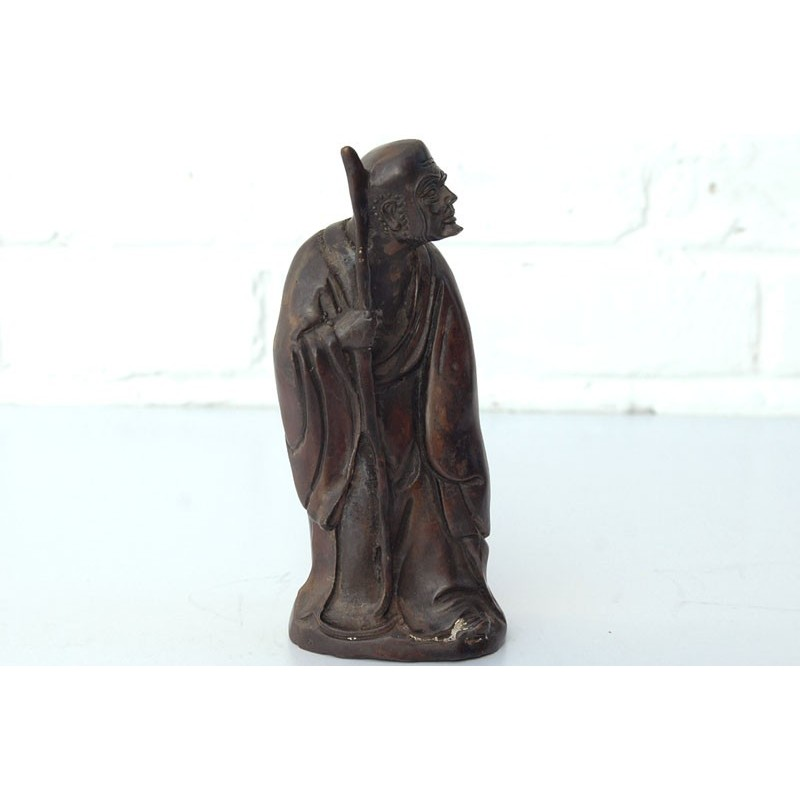 Moine en bronze avec baton