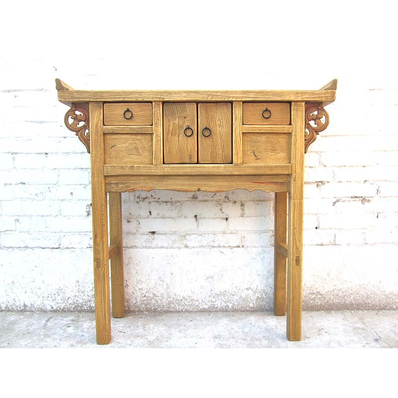 Bleached Wood Chinese Console Table 91cm