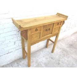 Console chinoise en bois blanchi 91cm