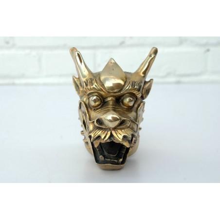 Tête de dragon chinois.Bronze doré