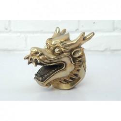 Chinesischer Drachenkopf. Vergoldeter Bronze