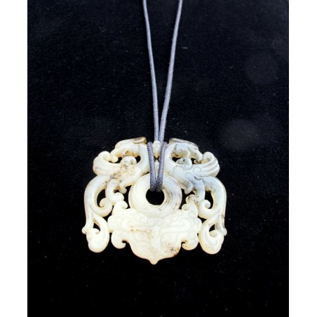 Natural stone pendant with two phoenixes