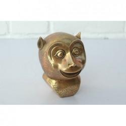 Affenkopf in vergoldeter Bronze