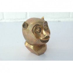 Monkey head in gilded bronze