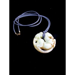 Natural stone pendant. Horse and monkey