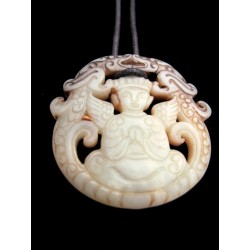 Natural stone pendant with winged Buddha