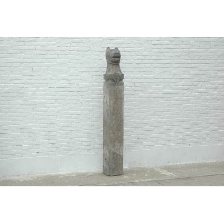 Stone pole carved with tiger 24,5cm