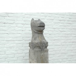 Pilier en pierre avec tête de tigre 24,5cm