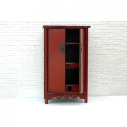 Armoire chinoise ancienne rouge 110 cm