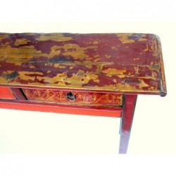 Mongolian console painted in different reds 140cm
