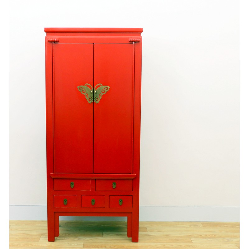 Armoire Chinoise Rouge Antique 80 Cm China Collection