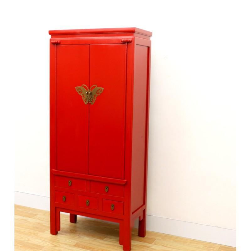 Chinesisch Antik Roter Schrank 80 Cm China Collection