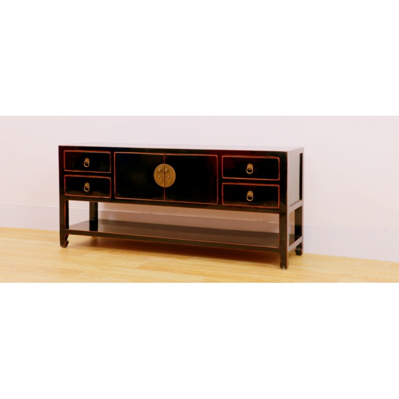 new product a9754 29218 Black Chinese TV cabinet130 cm