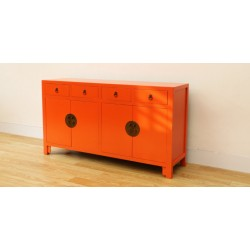 Bahut chinois orange 150 cm