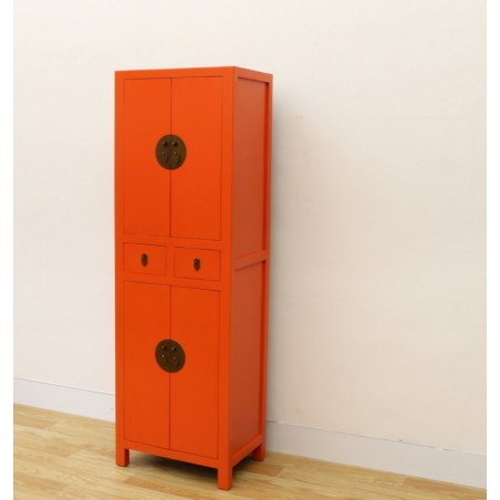 Armoire chinoise laquée orange 58 cm