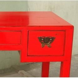 Chinesischer Schreibtisch rot lackiert 111 cm