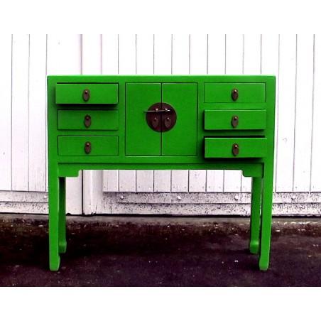 Console chinoise laquée vert 91cm
