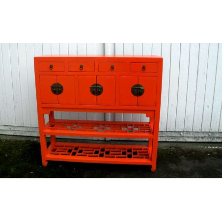 Chinese console in orange lacquer 99 cm