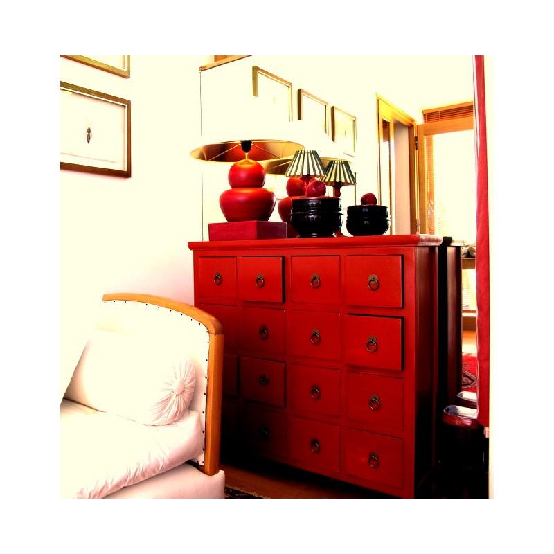 Antique-red Chinese medicine chest 90 cm