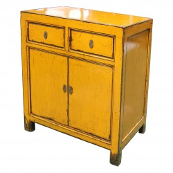 Small yellow laquered chinese cabinet