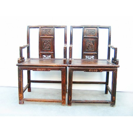 Carved ming style armchairs (sold by unit)