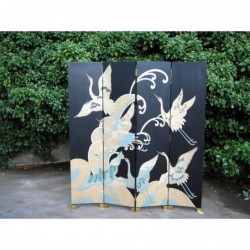Painted chinese screen with cranes