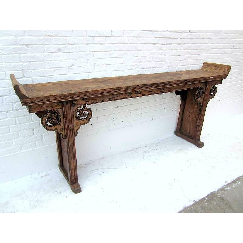 Chinese console table in elm wood 220cm