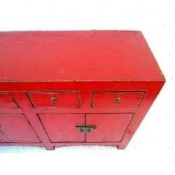 Bahut chinois ancien laqué rouge 197 cm