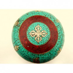 Tibetan prayer box with turquoise