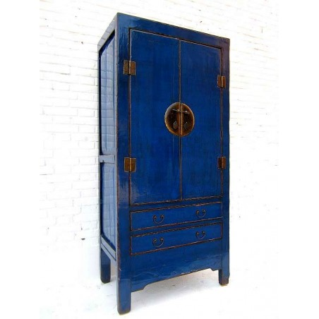 Blue lacquered Ming style wardrobe 89cm