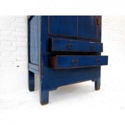 Armoire de style Ming laquée bleu 89 cm