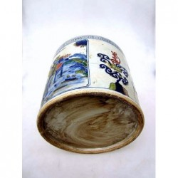 Pot à pinceaux chinois bleu-banc