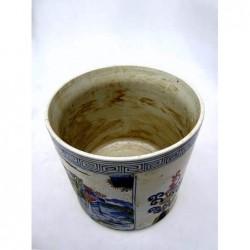 Pot à pinceaux chinois.Bleu-banc